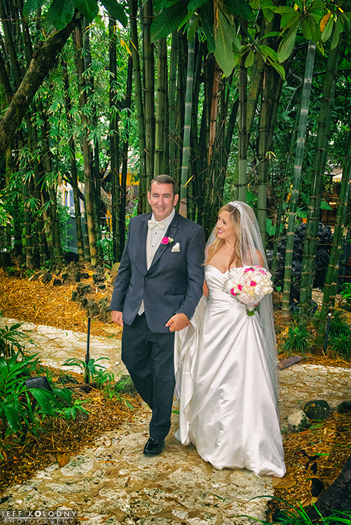 Bride and groom taking a walk at the Sundy House.