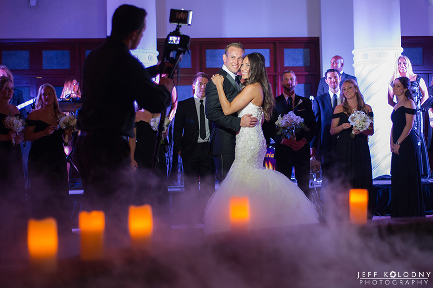 First dance between the bride and groom at the Colonnade hotel in Miami