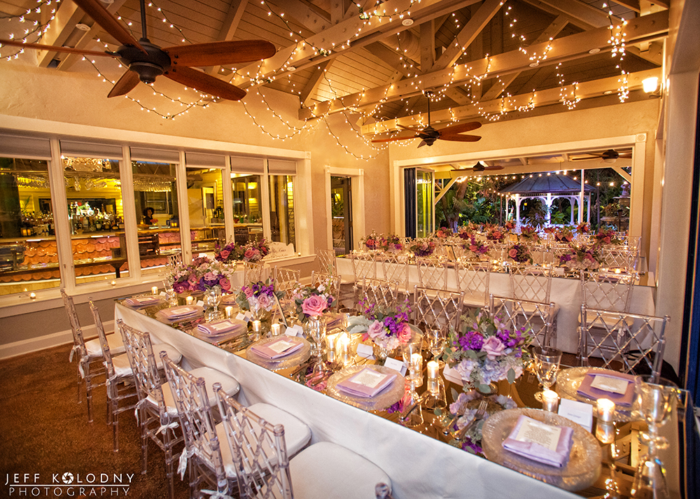 Sundy House ballroom decorated for a wedding reception.