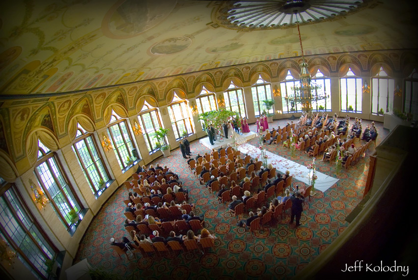 Wedding photo taken inside the Circle Room at The Breakers in Palm Beach Florida.