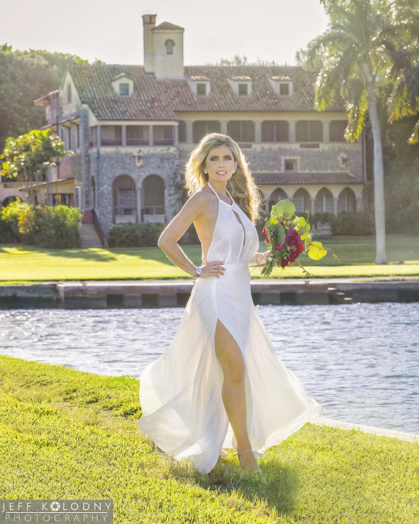 Bride posing at Deering Estate in Miami.