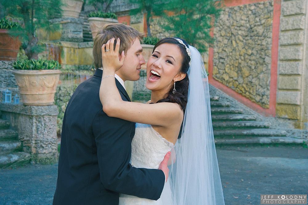 Bride and Groom at their Vizcaya wedding in Miami