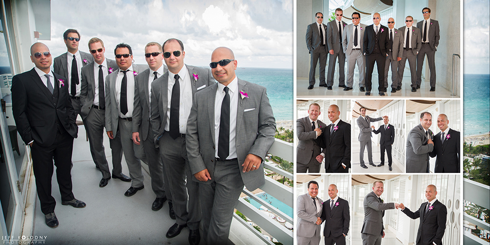 Groom and groomsmen at a Fontainebleau Miami Beach wedding.