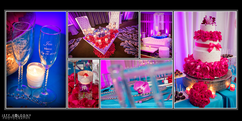 This colorful wedding decor made the Fontainebleau look wonderful.