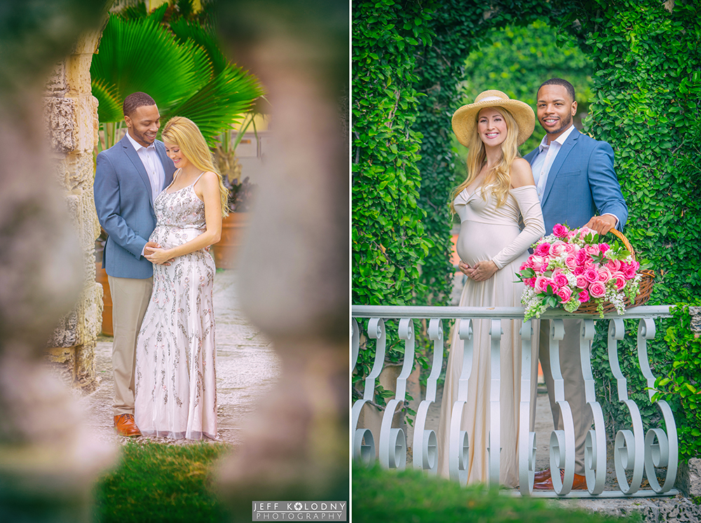 Maternity pictures taken at Vizcaya Gardens and Museum