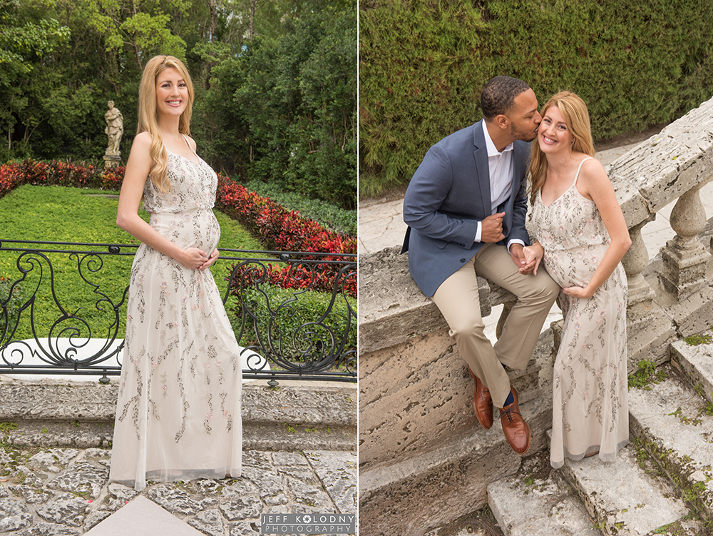 Jessica and Michael's Maternity pictures taken at Vizcaya Gardens in Miami.