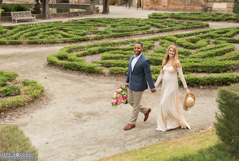 Walking hand in hand through Vizcaya's main garden is another way to get some romantic action pictures.