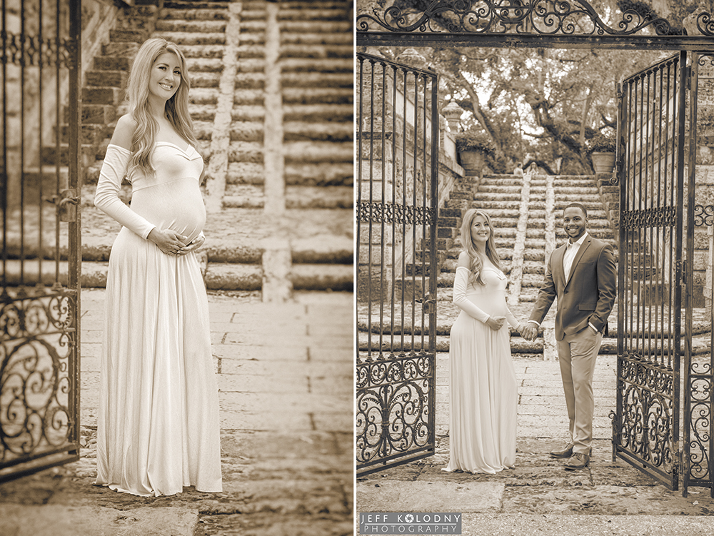 Sepia toned maternity photography picture in Miami at the steps leading up to Vizcaya's Garden Mound.