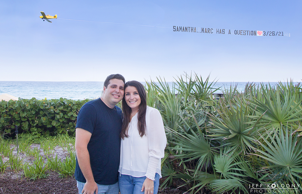Newly engaged couple photo session at the Boca Raton Resort and Club.
