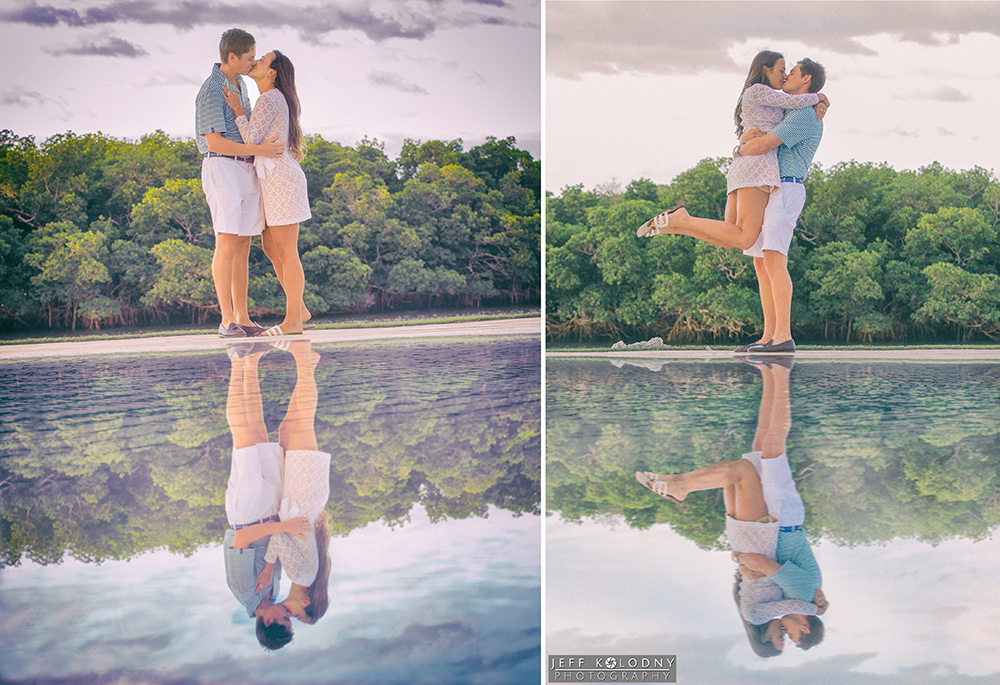 Engagement pictures taken by the Ocean Reef Club Pool.