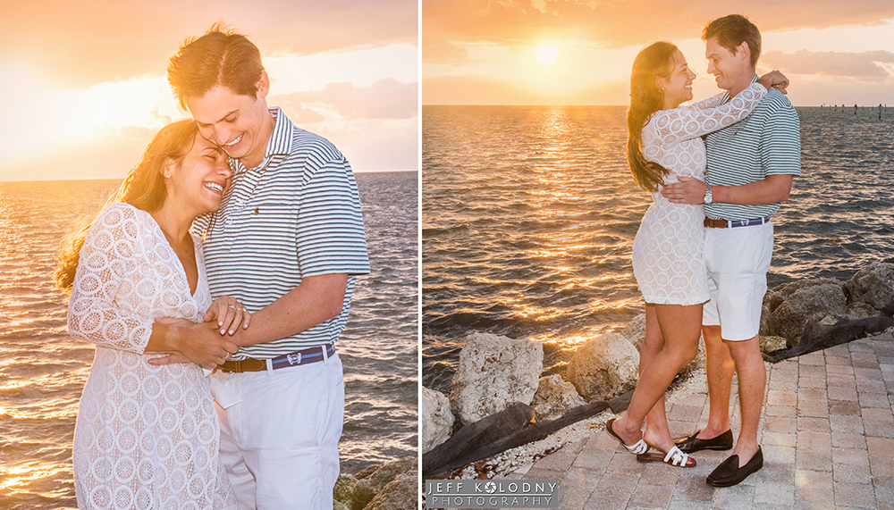 Engagement pictures taken against a spectacular Ocean Reef Club Sunrise