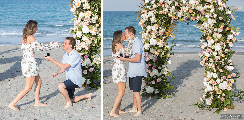 Groom proposing to his girlfriend on a South Florida beach.