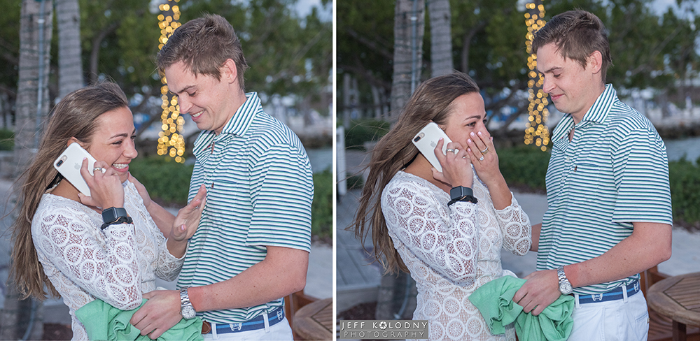 A recently engaged Tori tells her family over the phone, I'm engaged!