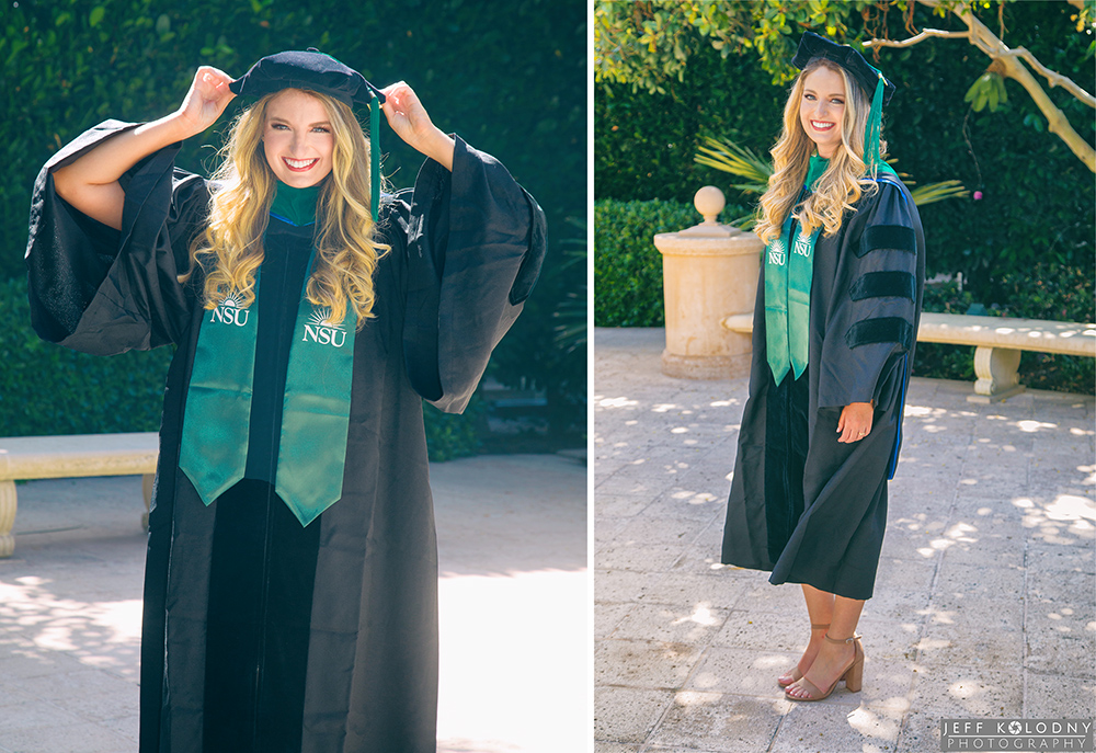 Graduating senior models her cap and gown at a Palm Beach Florida park.