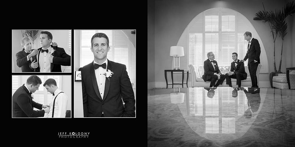 Groom and his groomsmen getting ready for the wedding day at Parkland Country Club.