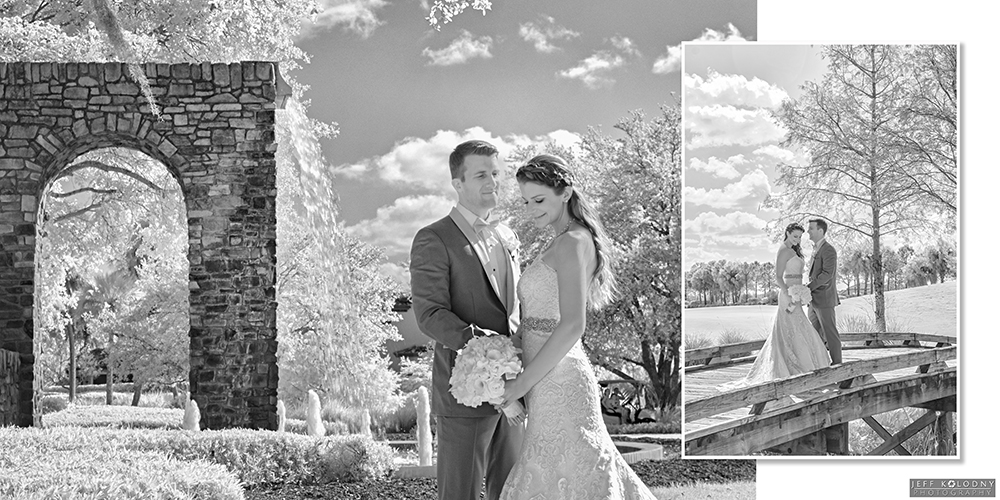 Bride and groom picture taken with a special infrared camera.