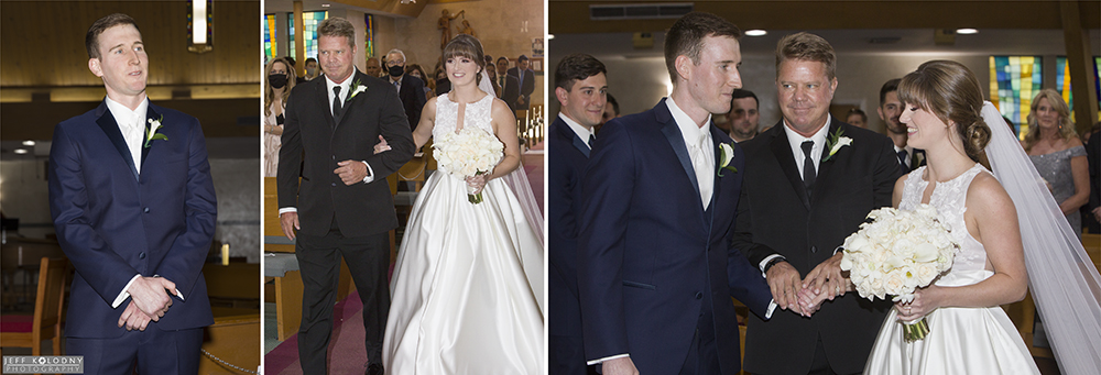Pictures taken at the start of the wedding ceremony, including, bride's walk down the aisle, groom watching.