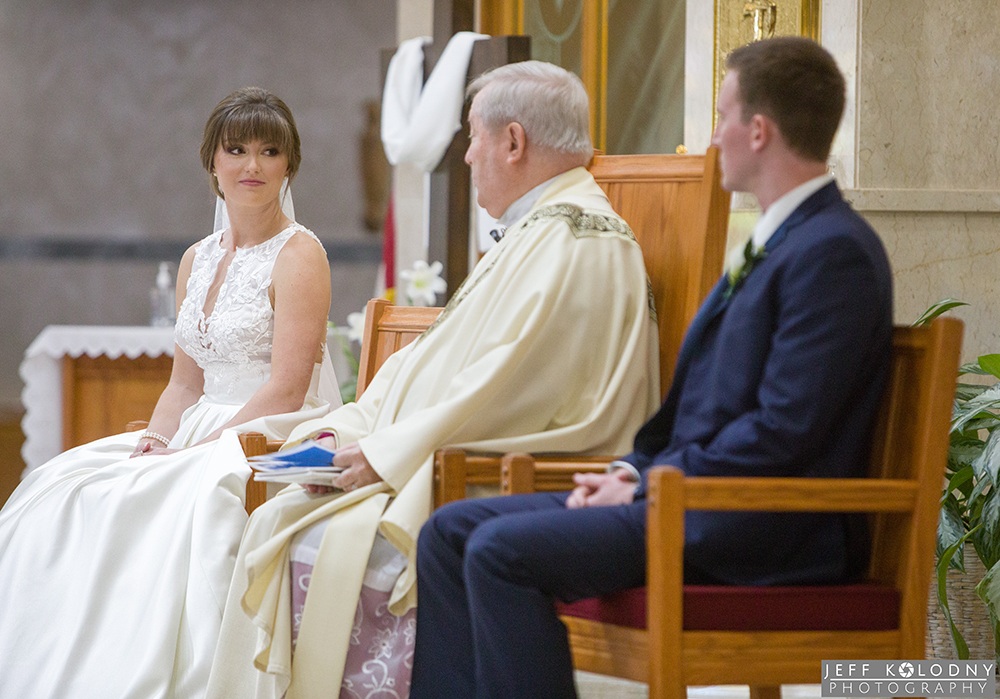 During the wedding ceremony the minister gave some marriage advise to the bride and groom.