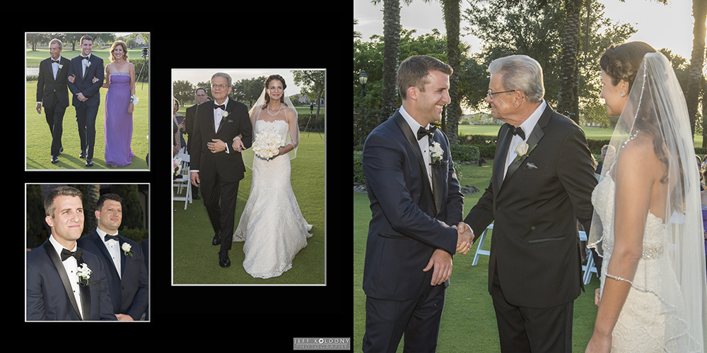 Wedding ceremony pictures. These include, walking down the aisle, the groom watching the bride, father shaking the groom's hand while the bride watches.
