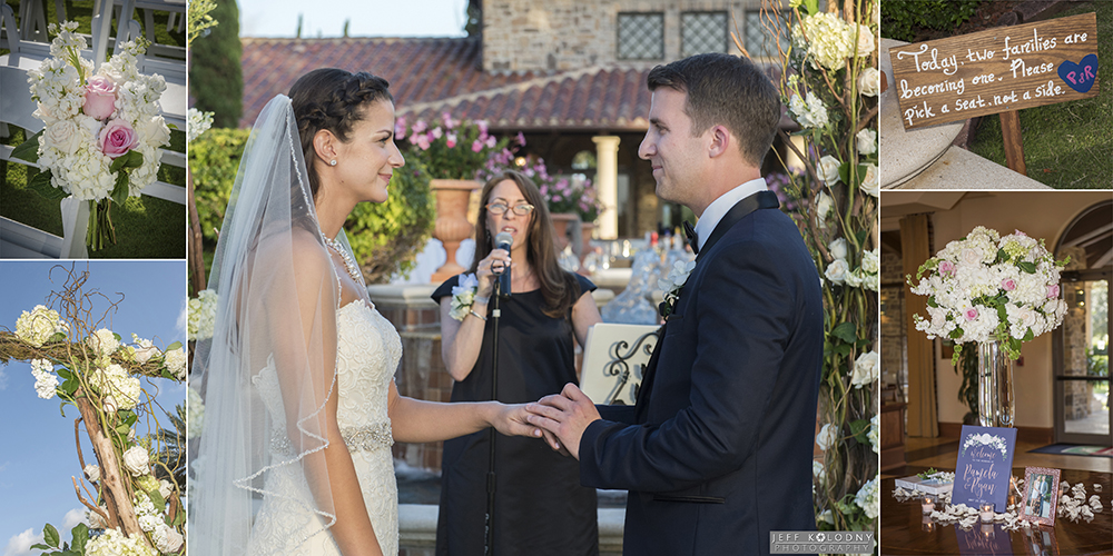 Wedding ceremony pictures, including bride and groom exchanging rings, and wedding ceremony decor photos.
