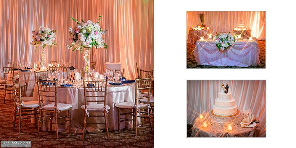 Decorated wedding ballroom at Parkland Country Club.