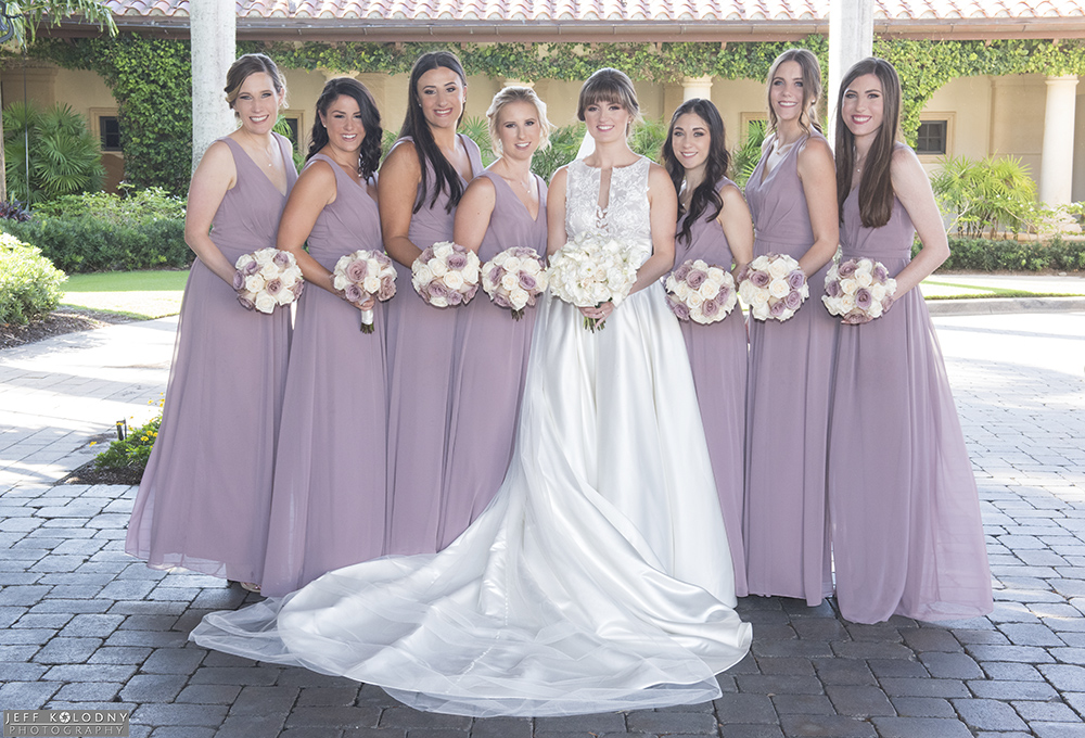 Bride and her bridesmaids picture, shot at the main club house entrance at Trump National in Jupiter.