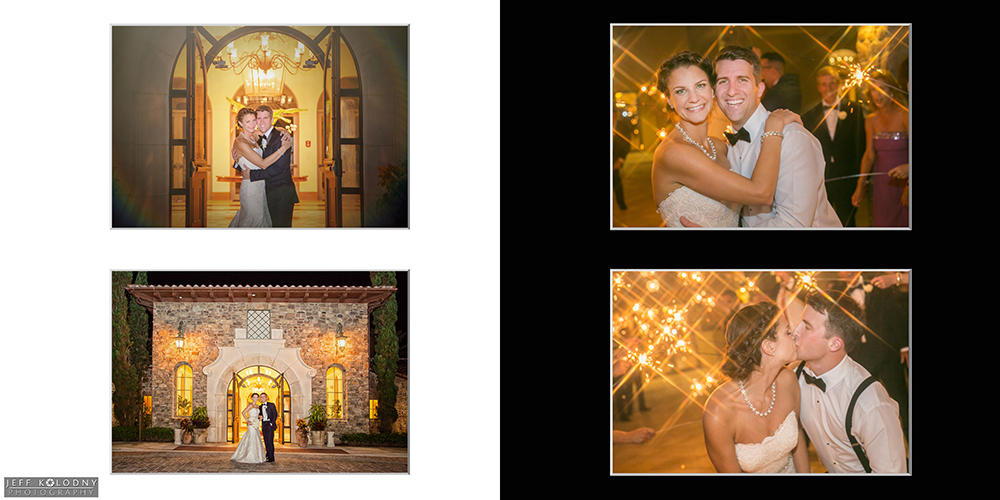 Nigh time wedding pictures taken at Parkland Country Club, including a sparkler sendoff.