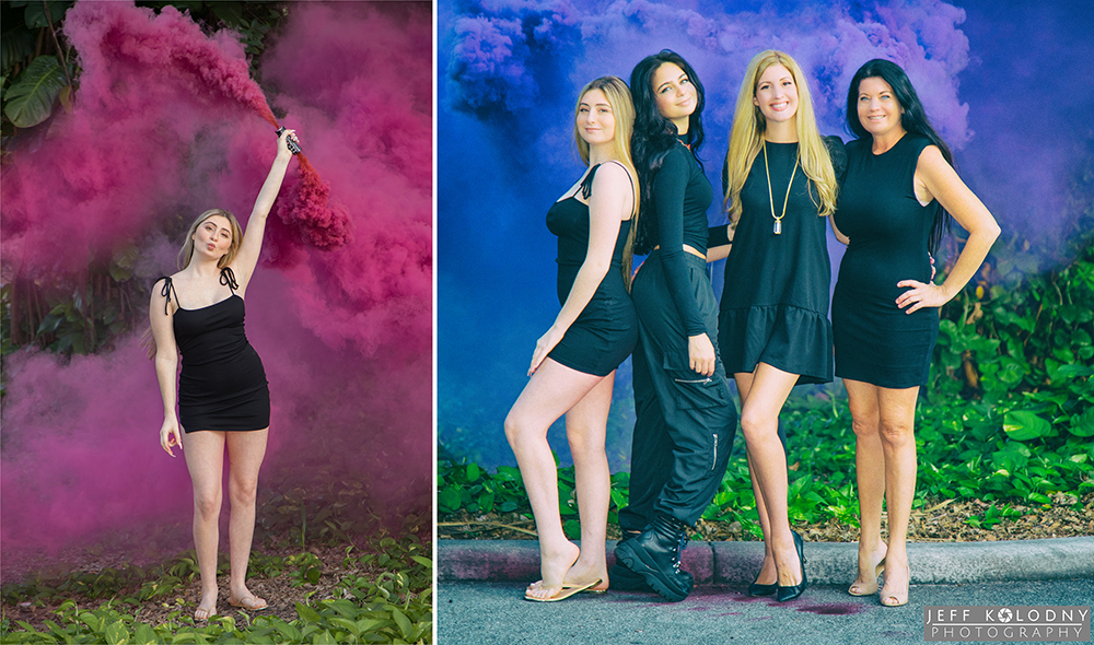 Pictures of a high school senior having fun with a colored smoke grenade.