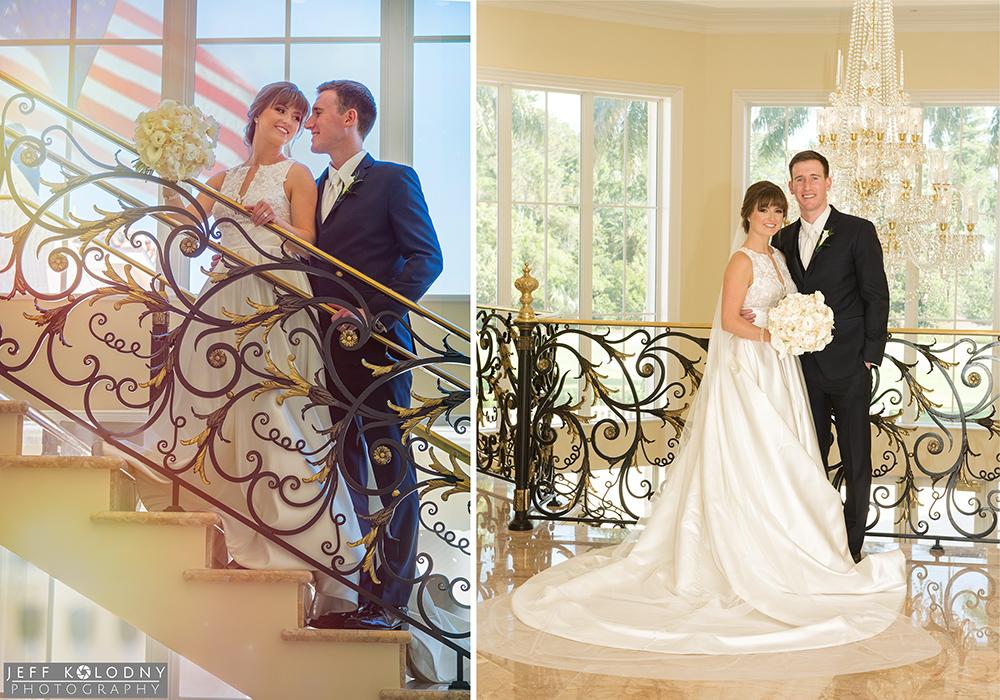 Bride and Groom pictures taken inside the Trump Jupiter ballroom