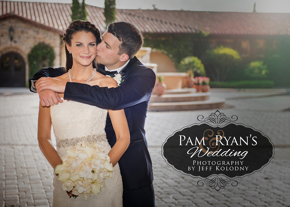 Groom kissing his bride in the courtyard at Parkland Country Club.