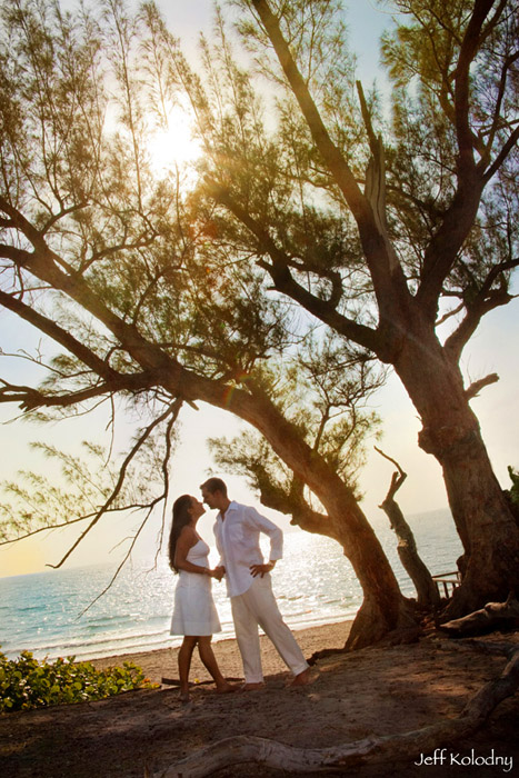 An engaged couple photographed at a Boca Raton Beach.